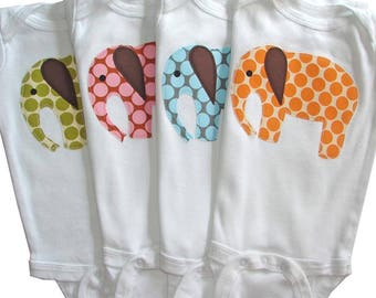 One Spotty Elephant Applique Baby Bodysuit -  Spotty Green, Pink, Blue, Orange, or Red Polka Dots - Short or Long Sleeve