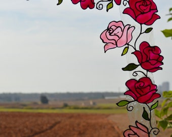 Roses in Bordeaux and Pink, Rose flower decals for window corners,Rose glass art