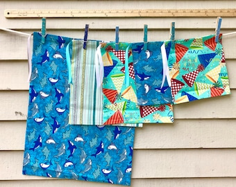 Cloth Gift Bags, Fabric Gift Bags, Set of Five Gift Bags, Reusable Cloth Gift Bags