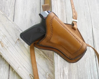 """Leather Military """"Tanker"""" Style Shoulder Holster for Large Frame Pistols and Revolvers, SASS, NCOWS, Re-enactment or everyday use"""
