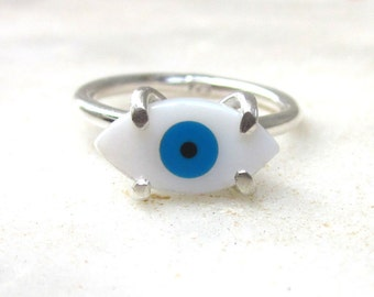 Evil eye sterling silver ring, dainty shell eye ring, modern stacking ring, mother of pearl cabochon, hippie gypsy jewelry, MADE TO ORDER