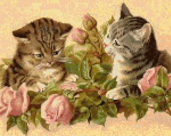 Victorian Kittens and Roses Cross Stitch pattern - Vintage Cats PDF - Instant Download!