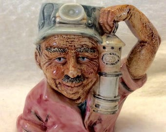 ArtMart made in Indonesia coal miner beer stein mug glass. Free ship to US