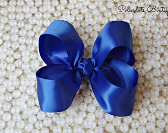 """Royal Blue Satin Large Hair Bow 4"""" Christmas Hairbow 4"""" Hair Bow Large Hair Bow Girl Hairbow Royal Blue Satin Bow"""