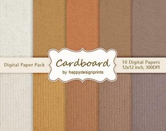"SALE! Cardboard Digital Paper Pack of 10, 300 dpi, 12""x12"" Instant Download Pattern Paper Scrapbooking, Invites, Cards JPG"