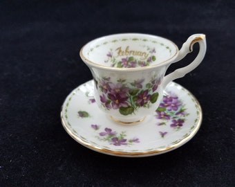 Royal Albert miniature tea cup and saucer, flower-of-the month February Violets