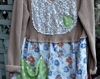 Farm Girl Chic/ Funky Handmade Dress/ Patched Tunic/ Wearable Art/ Vintage Linens/ Reclaimed Retro Fabrics/ Sheerfab Funwear