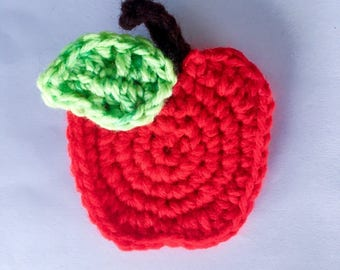Red crochet apple pin with a green leaf and brown steam, apple pin, teacher gift, crochet apple pin, red apple pin, teacher pin, red crochet