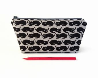 Cats pencil case, Black pencil pouch, Large pencil case, Black cats, Pencil zipper pouch, Student gift, Teenager gift, Back to school Supply
