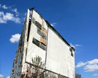 Abandoned Drive-In Theatre Screen Photo Art - Lost America Wall Art - Brilliant Blue - Americana Documentary Photography - Silver Screen Art