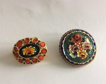 Two Vintage Micro Mosaic Brooches, Round and Oval