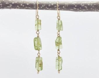 Dainty Peridot Earrings - August Birthday  - Peridot Jewelry - Green Earrings - Gold Filled  -  Boho Earrings - Birthstone Earrings