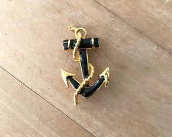 ON SALE •••• Vintage Black and Gold Anchor Brooch   Nautical Jewelry