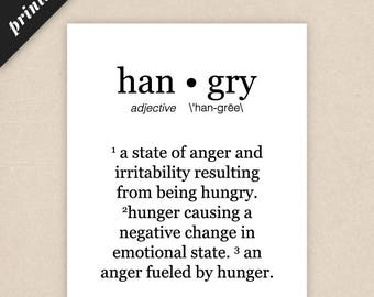 Hangry Sign Kitchen Decor Wall Art Printable Art / Kitchen Art Print / Foodie Gifts [PRINTABLE]