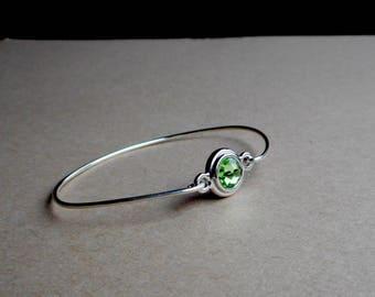 Sterling Silver Oval Bangle With Side Clasp, Peridot Green Swarovski Crystal  Handmade Bracelet USA
