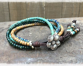 Multi-color Seed Bead Leather Wrap Bracelet For Women/ Beaded Wrap Bracelet/ Boho Bracelet/ Bohemian Bracelet/ Gift For Her.