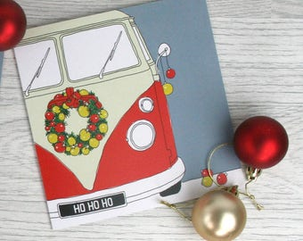 Christmas vw campervan card 'Christmas camper'