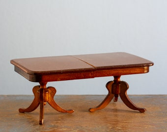 Sonia Messer Wooden Duncan Phyfe Dining Table - 1:12 Scale Vintage Dollhouse Furniture