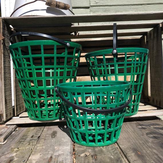 set of 3 1980s green driving range golf ball baskets