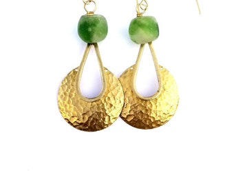 Gold architectural earrings//Gold art deco drop earrings//Sculptural drop earrings//modern brass earrings//The Adaeze earrings
