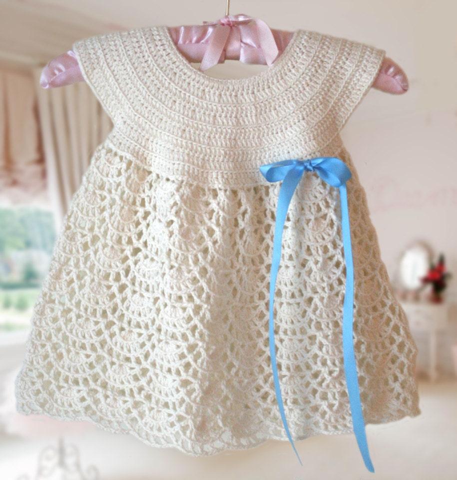 White Baby Dress , Baby Dress round neck , Crochet Pattern , Baby ...