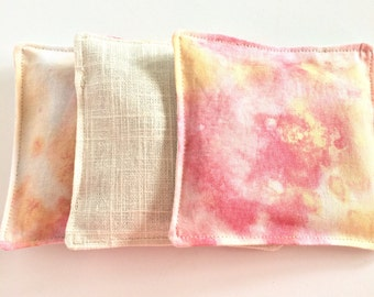 Pink lavender sachets, set of three, watercolor print with linen backing, satchet