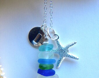Personalized sea glass stacked pendant necklace with initial and starfish charms - sea glass charm necklace - beach bridesmaid jewelry
