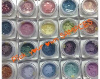 SAMPLES YOU PICK 6 Organic Beauty Minerals Vegan All Natural Gluten Free Eye Lips Nails