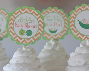 """12  - """"Sweet Pea""""  or """"Two Peas in a Pod"""" Twins Lime Green & Orange Pea in the Pod Baby Shower Cupcake or Cake Toppers - Party Pack Specials"""