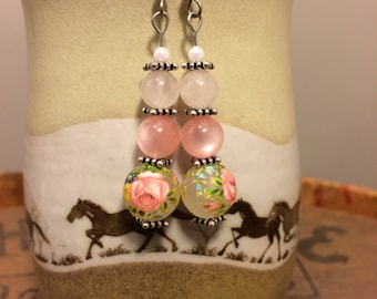 New Rose Tensha Acrylic Beads with Vintage Rose Quartz and Vintage Pink Moonglow Lucite Original Earrings