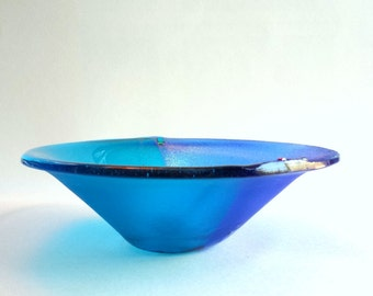Turquoise Blue Fused Glass Bowl - Iridized  Fused Glass Serving Bowl - Art Glass Bowl in Shades of Blue - Turquoise Cathedral Glass Vessel