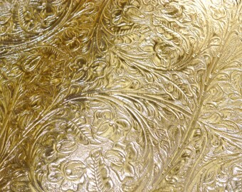 """Metallic Leather 12""""x20"""" or 10""""x24"""" or? Western CIRCLE Pattern GOLD Cowhide 2 oz/0.8 mm PeggySueAlso™ E2812-03"""