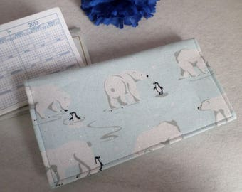 Polar Bears and Penguins, Fabric Checkbook Cover, Handmade, Ready to Ship, FREE Standard Shipping