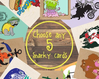 Greeting Card Set, 5 Card Pack, Christmas Cards Pack, Funny Greeting Cards, Pack Of Cards, Set of Greeting Cards