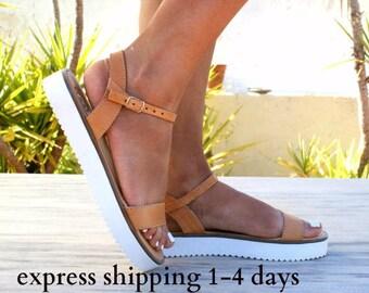NAFSIKA sandals/ Greek leather sandals/ summer sandals/ ancient grecian sandals/ platform sandals/ ankle strap sandals/ beige sandals