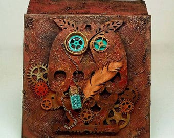 Steampunk wooden box jewelry box or trinket box