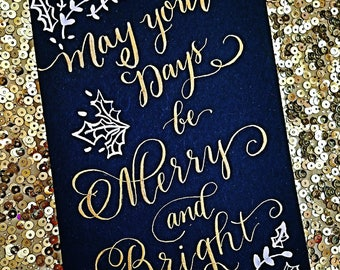 Calligraphy Christmas Card, Custom and Unique, Handwritten Calligraphy, Personalize how you wish!