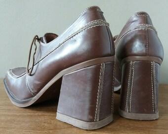 Shellys London, Shellys shoes, Shellys, block shoes, lace up shoes, women's shoes UK 8, womens shoes US 9.5, statement shoes, block