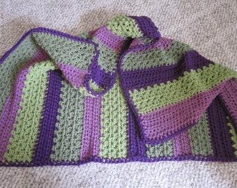 "Handmade Crochet ""LAPGHAN"", Greens & Purples  40"" x 30"""