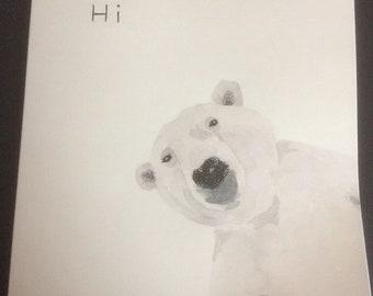 Polar bear greeting card. Watercolour and ink.