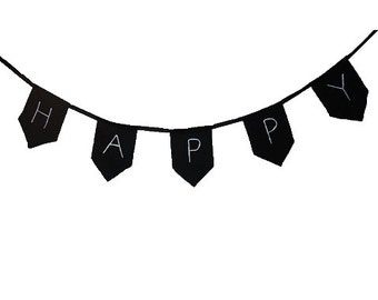Happy - Flags chain - Flags Made out of Black 100% cotton canvas Inspirational design Motivational flag Scandinavian style