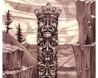 """Art Print """"We're Here"""" #001 24""""x 36"""" Totem pole pencil drawing 1996"""