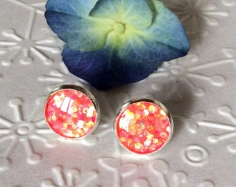 Round pink coral sparkly resin stud silver plated post earrings,resin jewerly,resin stud,glitter stud,sparkly ear post