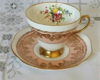 Pink Foley Teacup - Flowers and Fruit