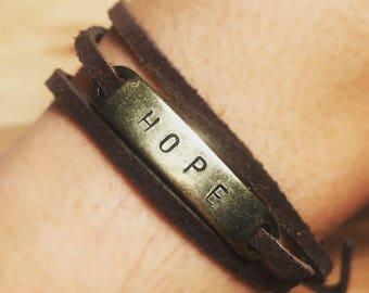 Hope leather wrap bracelet