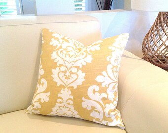 Yellow Tropical Cushions Tropical Pillows, Designer Scatter Pillows, Resort Style Designer Decor Many colours to choose from. Damask