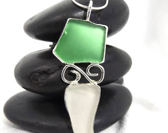 Green and White Sea Glass Jewelry, Green and White Sea Glass Pendant Necklace