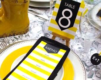 MENUS - Vibrant Sunshine Yellow - Modern Stripes of Lemon Yellow with a pop of Black