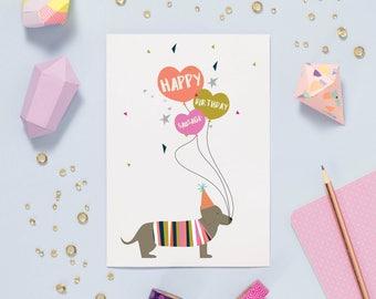 Happy Birthday Sausage Dog Card - Dachshund Card - Sausage Card - Doxie Card - Funny Sausage Dog Card - Birthday Card For Girlfriend