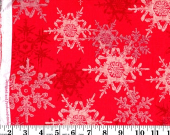 34 Inches, Snowflakes on Red